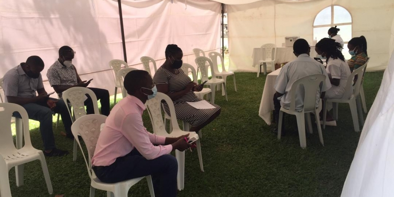 UVRI Staff waiting in the observation area before Vaccination